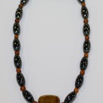 Magnetic Hematite Single Anklet - Dark Brown Center Stone, Brown Beads