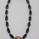 Magnetic Hematite Single Anklet - Brown Center Stone, Light Pink Beads