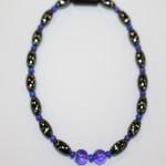 Magnetic Hematite Single Anklet - Dual Center Beads, Purple