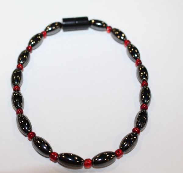 Magnetic Hematite Anklet: Hematite & Red Beads