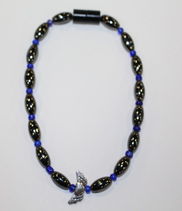 Magnetic Hematite Single Anklet - Winged Heart Center Stone, Blue Beads