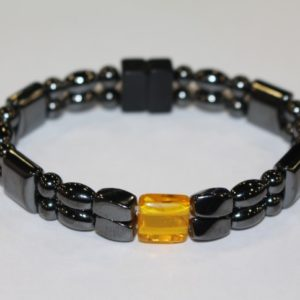 Magnetic Hematite Double Bracelet - Amber Center StoneMagnetic Hematite Double Bracelet - Amber Center Stone