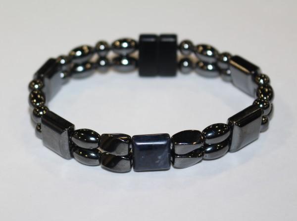 Magnetic Hematite Double Bracelet - Blue Agate Center Stone