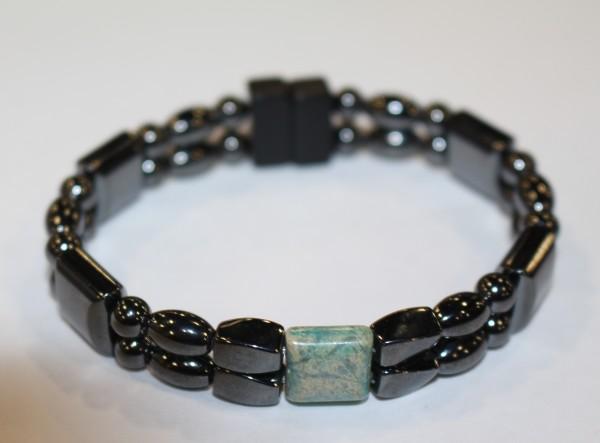Magnetic Hematite Double Bracelet - Crazy Lace Agate Center Stone
