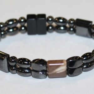 Magnetic Hematite Double Bracelet - Cappuccino Center Stone