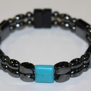 Magnetic Hematite Double Bracelet - Chinese Turquoise Center Stone