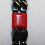 Magnetic Hematite Double Bracelet - Red Coral Agate Center Stone