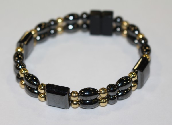 Magnetic Hematite Double Bracelet - Black and Gold
