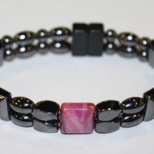 Magnetic Hematite Double Bracelet - Purple Agate Center Stone