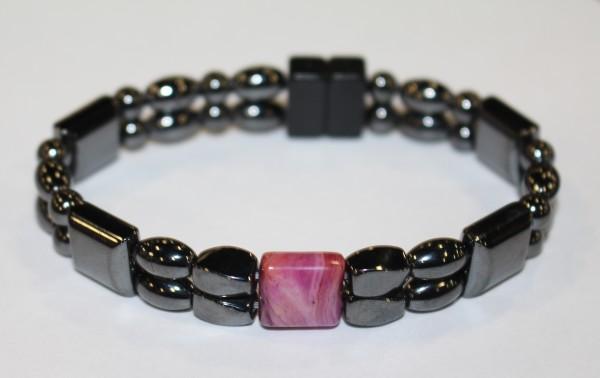 Magnetic Hematite Double Bracelet - Purple Agate Center Stone