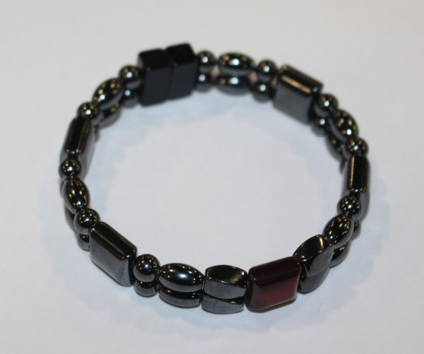 Magnetic Hematite Double Bracelet - Red Tiger Eye Center Stone