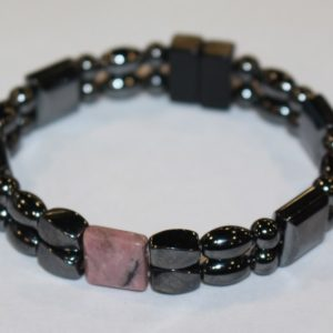 Magnetic Hematite Double Bracelet - Rhodonite Center Stone