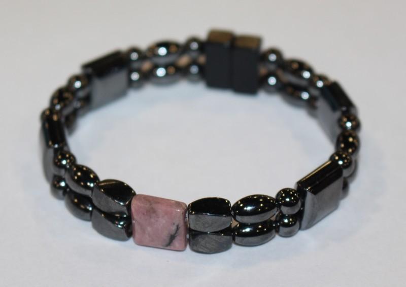 Magnetic Hematite Double Bracelet - Rhodonite Center Stone