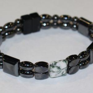 Magnetic Hematite Double Bracelet - Tree Agate Center Stone