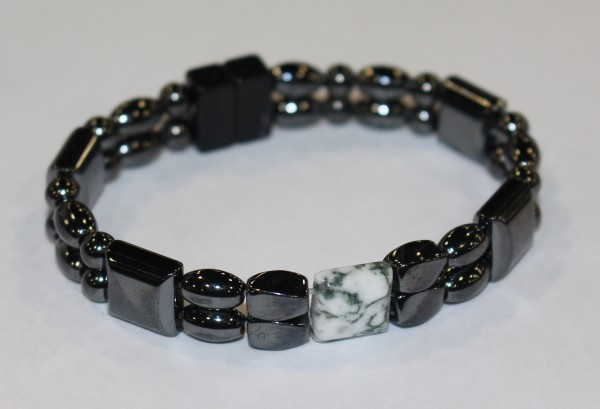 Magnetic Hematite Double Bracelet - Tree Agate Center Stone