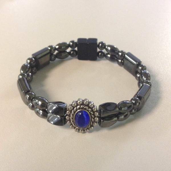 Magnetic Hematite Bracelet: Double Strand–Blue Center Stone