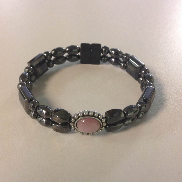 Magnetic Hematite Bracelet: Double Strand–Pink Center Stone