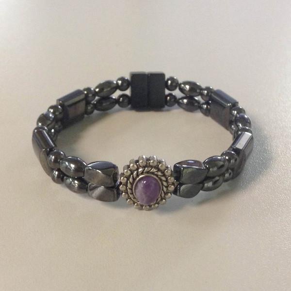 Magnetic Hematite Double Strand Purple