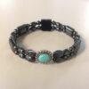 Magnetic Hematite Bracelet: Double Strand–Turquoise Center Stone, Horizontal