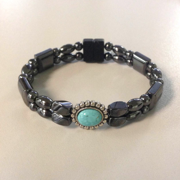 Magnetic Hematite Bracelet: Double Strand–Turquoise Center Stone, Horizontal