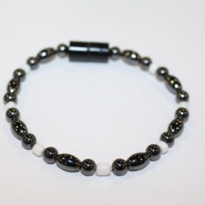Magnetic Hematite Single Bracelet - Hematite, and White Beads