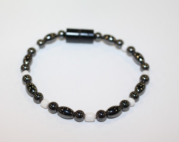 Magnetic Hematite Single Bracelet - Hematite, and White Beads