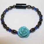 Magnetic Hematite Single Bracelet - Rose Center Stone: Teal, Blue Beads