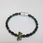 Magnetic Hematite Single Bracelet - Butterfly Center Stone, Single Wings, Green Beads