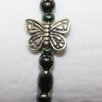 Magnetic Hematite Single Bracelet - Butterfly Center Stone, Double Wings, Rainbow Beads