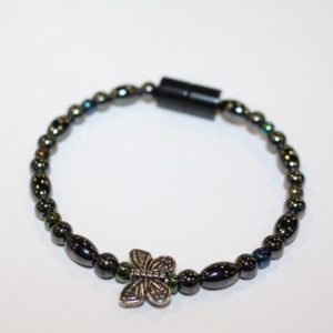 Magnetic Hematite Single Bracelet - Butterfly Center Stone, Double Wings, Rainbow Beads