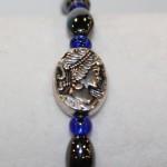 Magnetic Hematite Single Bracelet - Cameo Center Stone, Blue Beads