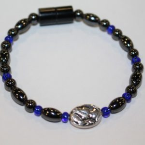 Magnetic Hematite Single Bracelet - Cameo Center Stone, Blue Beads
