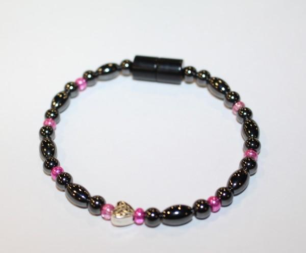 Magnetic Hematite Single Bracelet - Celtic Heart Center Stone, Hot Pink Beads