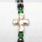 Magnetic Hematite Single Bracelet - Cross Center Stone, Green Beads