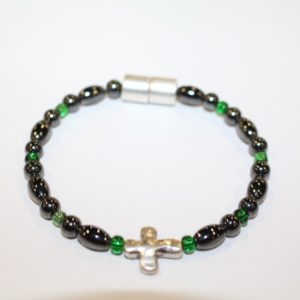 Magnetic Hematite Single Bracelet - Cross Center Stone