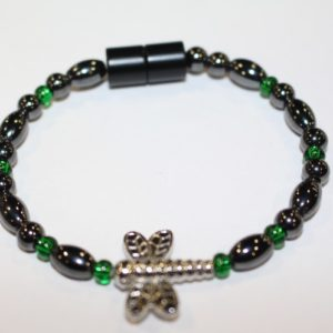 Magnetic Hematite Single Bracelet - Dragonfly Center Stone, Long with double wings