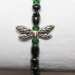 Magnetic Hematite Single Bracelet - Dragonfly Center Stone, Short with double wings