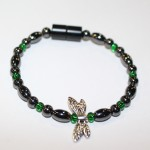 Magnetic Hematite Single Bracelet - Dragonfly Center Stone, Short with double wings, Green Beads
