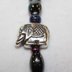 Magnetic Hematite Single Bracelet - Elephant Center Stone, Rainbow Beads