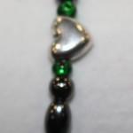 Magnetic Hematite Single Bracelet - Heart Center Stone, Green Beads