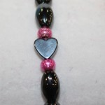 Magnetic Hematite Single Bracelet - Hematite Heart Center Stone, Hot Pink Beads