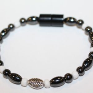 Magnetic Hematite Single Bracelet - Leaf Center Stone, White Beads