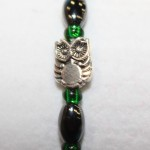 Magnetic Hematite Single Bracelet - Owl Center Stone, Green Beads