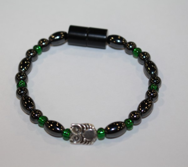 Magnetic Hematite Single Bracelet - Owl Center Stone, Green Beads