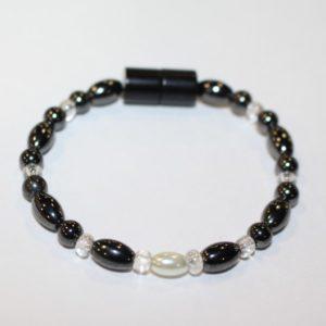Magnetic Hematite Single Bracelet - Pearl Center Stone, Clear Beads