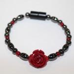 Magnetic Hematite Single Bracelet - Rose Center Stone: Red, Red Beads
