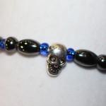 Magnetic Hematite Single Bracelet - Skull Center Stone, Blue Beads