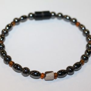 Magnetic Hematite Single Bracelet - Tiger Eye Barrel Center Stone, Brown Beads