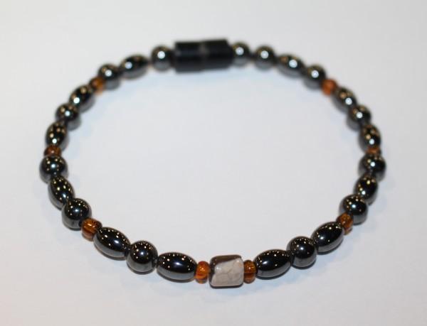 Magnetic Hematite Single Bracelet - Tiger Eye Barrel Center Stone, Brown Beads