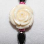 Magnetic Hematite Single Bracelet - Rose Center Stone: Off-white, Hot Pink Beads